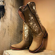 Women's Boots Cowboy Embroidery Western Mid-width Square Toe Cuban Fashion Retro