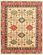 Vintage Geometric Hand-knotted Carpet 8and03911 X 11and0395 Traditional Wool Area Rug
