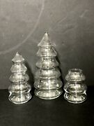 3 Vintage Clear Glass Christmas Tree Shaped Jar Candy Nut Dish 11andrdquo 8andrdquo W/ 2 Lids