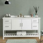Harrison 60w White Wood Vanity Cabinet Only