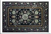 3and039x2and039 Black Marble Coffee Dining Sofa Table Top Antique Inlay Mosaic Lapis Gfj