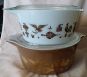 Pair 1960s Pyrex Early American 1 1/2 And 2 1/2 Quart Casseroles Wlids Brown White