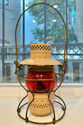 Antique Bando Railroad Hand Lantern With Red Globe Andndash Excellent Condition