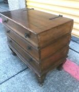 Rare Antique Faux Book Stacked Wood Table W 3 Storage Drawers W Inlaid Woodwork