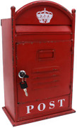 Funerom Vintage Wall Mounted Post Box Metal Mailbox With Secure Lock And 2 Keys