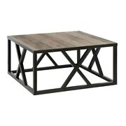 Hennandhart Traditional Square Geometric Metal Coffee Table With Gray Oak Wood Top