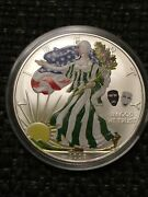 2008andnbsp Eagle Comedy And Tragedy Theatre Masks Colorized 1oz .999 Silver Coin