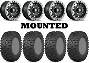 Kit 4 Itp Terra Claw Tires 27x9-14 On Fuel Anza Beadlock Matte Black D917 Can