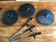 Simmons Sd5x Cps-5 Cymbals W/ Mount Arm Set Of 3 In Good Condition Tested