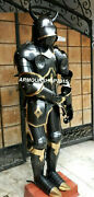 Handmade Antique Viking Medieval Black Armor Full Suit With Brown Base Gift Item