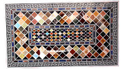 5and039x3and039 Black Marble Dining Coffee Table Top Pietra Dura Inlay Home Decor Rg