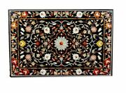 5and039x3and039 Black Marble Dining Coffee Table Top Pietra Dura Inlay Home Decor Qc