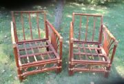 Lot Of 2 Vintage Mid Century Modern Bamboo Rattan Lounge Chairs