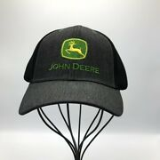 John Deere Black Gray Fitted Mesh Trucker Hat With Green Yellow Logo Authentic