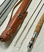 Ex Orvis 9 Wt. Bamboo Salmon Fly Rod Battenkill 8 1/2and039 5 1/8 Oz. Leather Tube