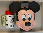 Euc Vintage Disney Mickey Mouse Head Shaped Lunch Box And Thermos Disney Aladdin