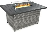 52 Fire Pit Table 50000 Btu Outdoor Wicker Patio Propane Gas Clear Glass Cover