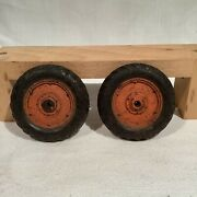 2 Original Hard Rubber Wheels 3 3/4 In. Dia. By 9/16 In. Thick For Antique Toys