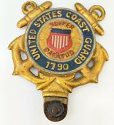 United States Coast Guard License Plate Topper Gemsco Ny Vintage Military Brass