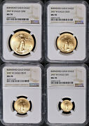2007-w Gold American Eagle 4 Coin Burnished Set Ngc Ms70 Brown Label - Stock
