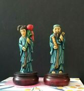 2 Vintage Chinese Asian Figurines Carvings Highly Detailed Wood And Resin