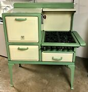 Antique Kitchen High Oven Stove Vintage Gas Green And Yellow Excellent Condition