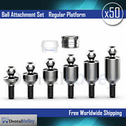 50x Set Of Ball Attachment And Silicon Cap And Metal Housing For Dental Implant Lab
