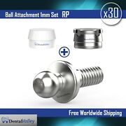 30x Ball Attachment 1mm And Silicon Cap And Metal Housing Rp For Dental Implant Lab