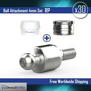 30x Ball Attachment 4mm And Silicon Cap And Metal Housing Rp For Dental Implant Lab