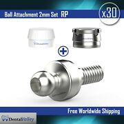 30x Ball Attachment 2mm And Silicon Cap And Metal Housing Rp For Dental Implant Lab