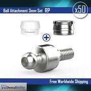 50x Ball Attachment 3mm And Silicon Cap And Metal Housing Rp For Dental Implant Lab