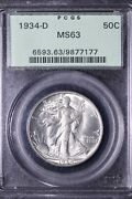 1934-d Walking Liberty Half Dollar Pcgs Ms63 Ogh Free Shipping Snht
