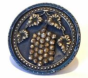 Large Antique Blued Steel Cup Button…grapes....loads Of Cut Steels