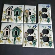 Adrienne Blum Set Of 6 Electrical Outlet Light Switch Plates, Enamel On Metal