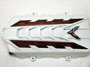 2020-22 C8 Corvette Engine Cover- Arctic White-anodized Edge Red Side Emblems
