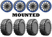 Kit 4 Maxxis Carnivore 30x10-14 On System 3 Sb-5 Beadlock Matte Gray Blue Can