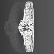 Diamond Ring Solitaire And Accents Women 1 1/4 Carats 14k White Gold Channel Set