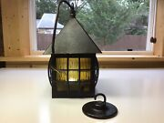 Vintage Porch Ceiling Light Fixture Arts And Crafts Bungalow Yellow Slag Glass.