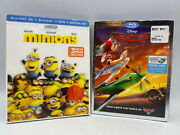 Minions And Disney Planes Blu Ray 3d Dvd Movie Lot With Slipcovers
