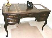 Sligh Vintage French Provincial Leather Top Mahogany Desk W Cabriole Legs Maurzz