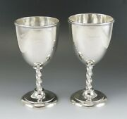 Pair Of C1845 Antique American Coin Silver Twisted Stem Goblets