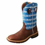 Twisted X Western Boot Cowboy Men 12 Work Boot Burgundy And Sky Blue
