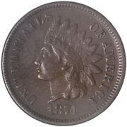 1874 Indian Head Cent About Uncirculated Penny Au See Pics H173
