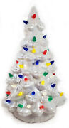 White Mother Of Pearl Ceramic Christmas Tree 14 Battery Op Led Color Lights