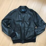 Polo By Auth A-2 Lamb Leather Bomber Flight Jacket L From Japan