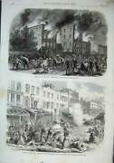 Old Antique Print 1863 Riots New York Orphan Asylum Military First Avenue 19th