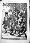 Antique Old Print Off For Days Fishing Three Boys Girl Net Tins Basket 1883