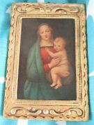Italian Florentine Madonna And Baby Jesus Tole Gold Gilt Wood Picture Plaque Icon