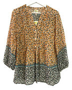 Nwt Anthropologie Fig And Flower Peasant Tunic Boho Top Blouse Floral Orange