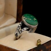 Antique Vintage Native Navajo Sterling Coin Silver Turquoise Ring Sz 6.5 3.1g